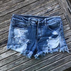 American Eagle hi-rush shortie jean shorts size 8
